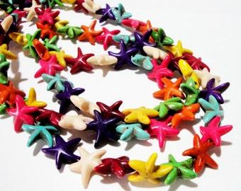 "Starfish Beads - Star Howlite Beads - Multicolored Gemstone - 13mm - 16"" Strand - Star Nautical Under The Sea - DIY Summer Jewelry Making"