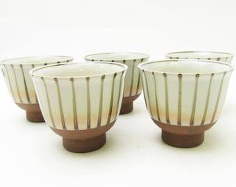 Sencha Yunomi/Tea Cups.Kiyomizu-ware.Set of 5.Japanese Pottery.by Tachikichi.#ynm45.msjapan