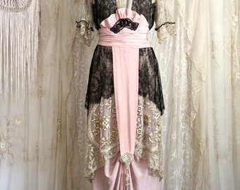 Exquisite 1900's Antique Dress / Titanic Era / Museum / Chantilly Lace / Silk / Pink and Black / Rare Larger Size