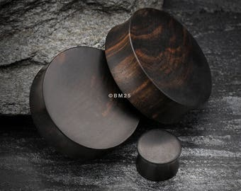 A Pair of Tiger Ebony Wood Double Flared Plug