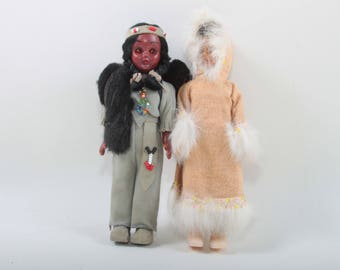 Vintage, Native American, Eskimo, Dolls, Inuit, Set, Plastic, Ethnic, Dressed, Traditional Outfits, Toys, Poseable ~ The Pink Room ~ 160905