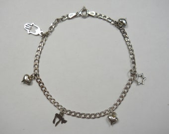 Vintage Hearts And Religious Symbols Sterling Silver Charm Bracelet