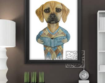 "Puggle Art Print Painting reading The book of Puggle watercolour Plain and literacy 8 x 10 and 12 x 16"" by Monica La Tanya"