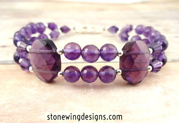 Purple Amethyst Gemstone Bracelet, February Birthstone Jewelry
