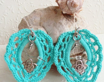 Turquoise Crochet Earrings, Blue dangle earrings, Victorian jewelry, Gift for her, Handmade jewelry, FREE SHIPPING