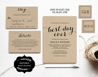 Rustic Wedding Invitation Set Printable Wedding Invitation