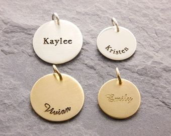 Add-On Name Charm, add a charm, bracelet charm, name pendant, gold name charm, silver name charm, initial charm, engraved name, AD