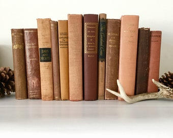 Vintage 12 Book Bundle in Copper Orange Rust and Brown for Display Decorating Home Decor Wedding Reading