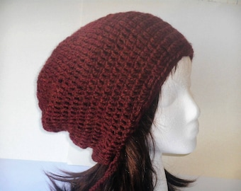 Cranberry wool blend slouchy beanie with drawstring by Peace Stitch Studio