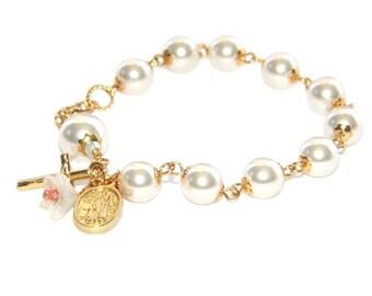 White Pearl Catholic Rosary Bracelet, Guardian Angel Medal