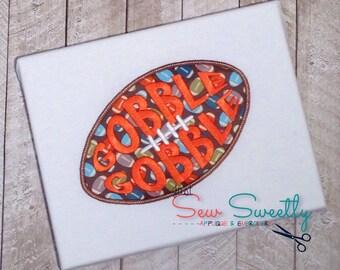 Thanksgiving Football Applique Design - Embroidery Machine Pattern - Gobble Turkey