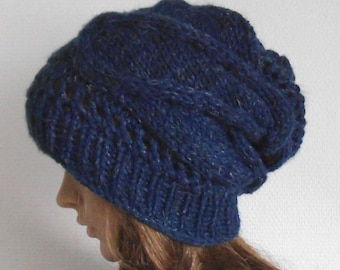 Winter Women Wool Hat. Dark Blue Hand Knited Hat . Slouchy Beanie Hat.