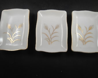 Wheat Design Set of 3 Three Small Dishes White and Gold