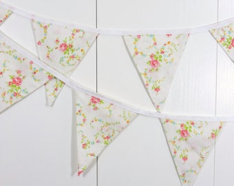 Cottage Chic Pennant Flags / Baby Bunting Flags / Flower Bunting Flags
