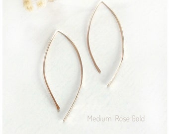 14K Gold Hoop Earrings, Arc Earrings, 14K Rose Gold Hoop Earrings, Simple Earrings, Minimalist Earrings, Dainty Earrings, Modern Earrings