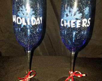 Holiday Cheers! Christmas Flute Pair