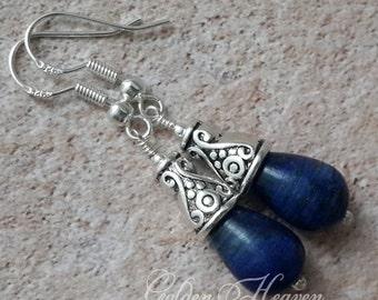 Lapis Lazuli Teardrop Earrings Lapis Earrings Tibetan Silver & 925 Sterling Silver Dark Blue Stone earrings Gemstone Cute gift Jewelry