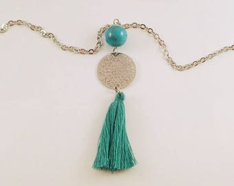 Ethnic necklace-> print and Turquoise Blue tassel pendant necklace