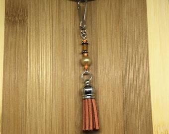 Decorative Zipper Pull/Purse Charm- orange tassel