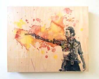 The Walking Dead Rick Grimes from The Walking Dead Art Print from Original Watercolor Painting on Wood The Walking Dead Gift Art on Wood