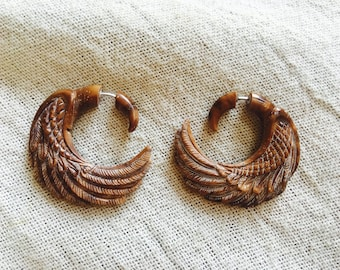 Eagle Earrings - carved in piasava coconut shell