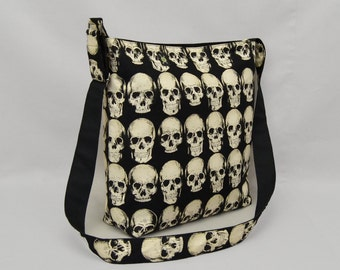 Anatomical Skulls Large Crossbody Bag with Pockets, Fabric with Canvas Liner