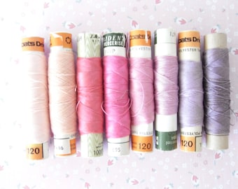 Pink & Purple Vintage Cotton Thread DIY craft sewing scrapbooking notions 8