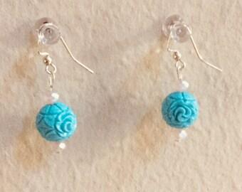 blue bud earrings