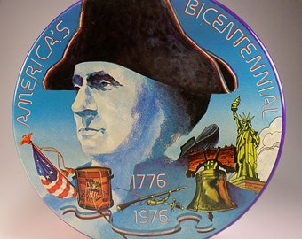 Vintage Cookie Tin, America's Bicentennial 1776-1976, George Washington, Liberty Bell, 200 Years