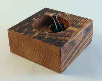 Reclaimed Oak wood Tea Light Candle Holder Paper Clip Holder