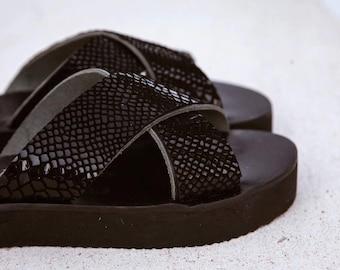 Last piece / sales /-60% amvrosia black snake/flatform/handmade/aelia/criss cross