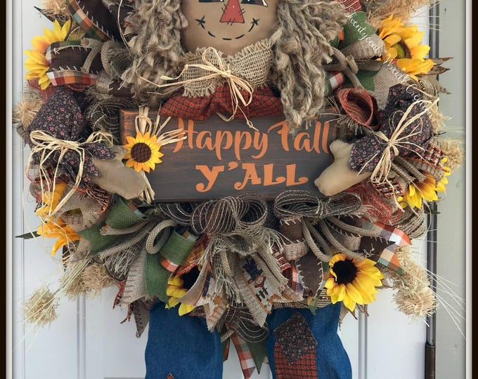 Fall Wreath - Scarecrow wreath - Sunflower wreath - Primitive Scarecrow - Happy Fall Y'all wreath