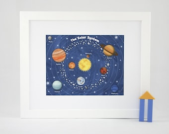 """Outer Space Solar System - 11"""" x 14"""" Fine Art Print - Children's Outer Space Theme Room Decor"""
