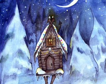 Baba Yaga's Winter Night (unframed print)
