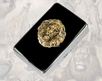 Antique Gold Lion Metal Cigarette Case Inlaid in Hand Painted Enamel Neo Victorian Leo Metal Wallet Custom Engraved and Personalized Options