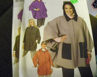Sewing Pattern - Butterick B5691 - Women's Cape And Jacket - Size KK 26W - 28W - 30W - 32W - Coat