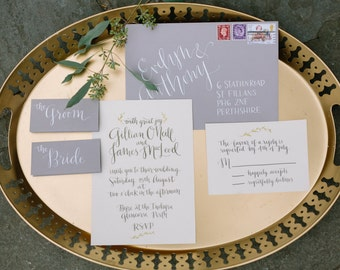 Handwritten modern calligraphy wedding envelopes - Appleton style