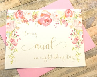 To my Aunt on my Wedding Day - Card for Auntie - Wedding Thank You Card - Bridal Party - Aunt Vintage Wedding Card - HEIRLOOM