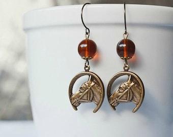 Horse earrings, brass charms, amber glass beads, equestrian, horseshoe charm