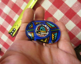 Art Glass Brooch, vintage pin aztec w/ free ship