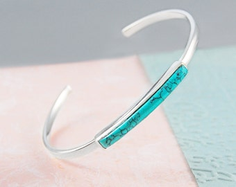 Silver Turquoise Bangle, Silver Jewelry, Turquoise Bangle Bracelet, Adjustable Cuff Bangle, Turquoise Gemstone Bangle, Birthstone Bracelet