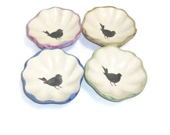 Wooden Birdie Bowls | Tole Painted And Distressed Bowls With Bird Stencil in Center
