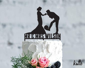Soccer wedding cake topper- futbol Wedding Cake Topper- Personalized Soccer cake topper- Soccer Wedding Cake topper- wedding Gift