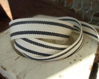 Black and Cream Organic Cotton Blend Ticking Ribbon