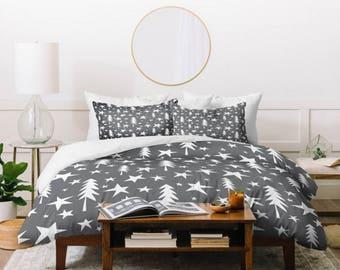 Gray Duvet Cover // Twin, Queen, King Sizes // Home Decor // Wish Upon A Star Design // Bedding // Gray // Bedroom Decor // Winter Decor