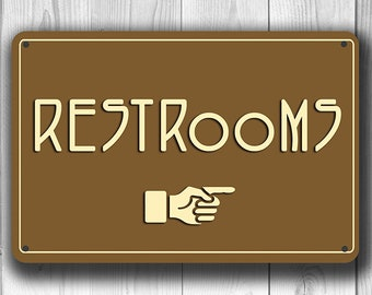 RESTROOM SIGNS, Restrooms Sign, Classic chic Restrooms Sign, Restroom Direction Sign pointer, Toilets Sign, toilet sign Restroom Decor