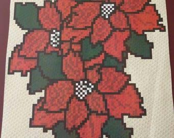 Poinsettias – Teen/Adult Size C2C Crochet Blanket Afghan Graph Pattern – 75x90 C2C crochet squares