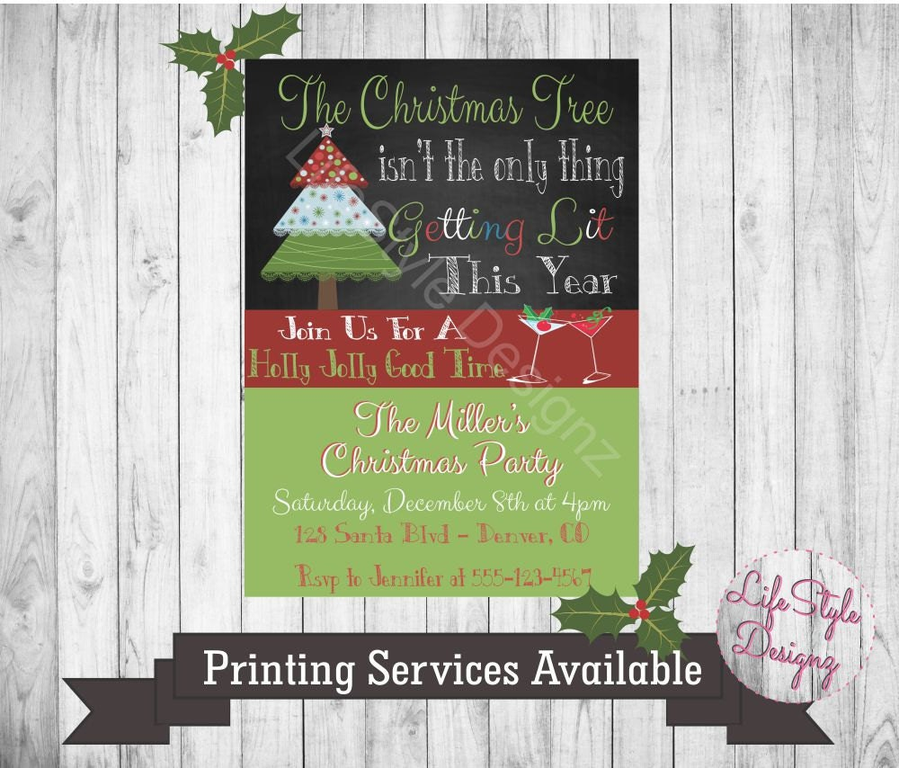 Lets Get Lit Christmas Party Invitation Elfed Up Holiday