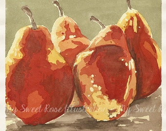 Red Pears -  Archival Print by Laura Davies
