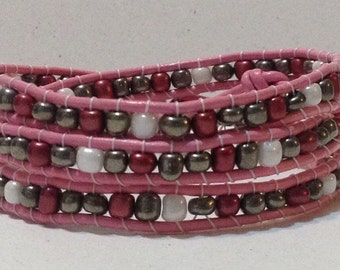 Leather triple wrap bracelet
